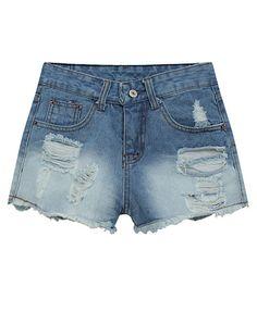 Blue Mill White Korean Style Ripped Denim Shorts