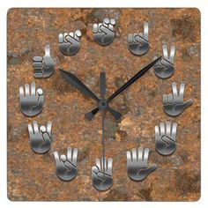 Sign Language -Rusty Square Wall Clock