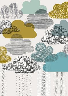Nothing But Rain limited edition print by Eloise Renouf Illustration Print Clouds 'Looks Like Rain' Clouds illustration - but a lovely idea for applique with embroidery? Clouds illustration, love the style! clouds- Love this illustration on the cover of U Art And Illustration, Pattern Illustration, Art Design, Graphic Design, Interior Design, Ideias Diy, Limited Edition Prints, Textures Patterns, Prints And Patterns