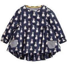 Stylish Long Sleeve Round Neck Rabbit Print A-Line Dress For Girls (BLACK,120)   Sammydress.com Mobile