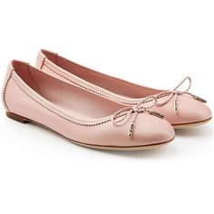 Salvatore Ferragamo Leather Ballerinas ($299) ❤ liked on Polyvore featuring shoes, flats, pink, pink flats, flat pumps, leather ballet flats, ballet flat shoes and pink leather flats
