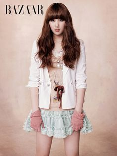 #Asian fashion miss A's Suzy in Harper's Bazaar Korea April 2011 (don't like the hair but outfit is lovely!)