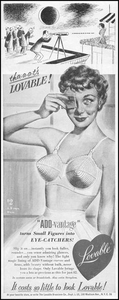 Lovable - Vintage ad for bullet bras, featuring a perv with a telescope Lingerie Vintage, Vintage Bra, Creepy Vintage, Vintage Ephemera, Vintage Vogue, Retro Vintage, Vintage Beauty, Vintage Clothing, Stockings Lingerie
