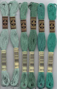 DMC six-stranded embroidery floss - 3800 series. DMC 3801 - Melon - Very Dark; 3802 - Antique Mauve - Very Dark; 3803 - Mauve - Dark; 3804 - Cyclamen Pink - Dark; 3805 - Cyclamen Pink; 3806 - Cyclamen Pink - Light; 3807 - Cornflower Blue; 3808 - Turquoise - Ultra Very Dark; 3809 - Turquoise - Very Dark; 3810 - Turquoise - Dark; 3811 - Turquoise - Very Light; 3812 - Seagreen - Very Dark; 3813 - Blue Green - Light; 3814 - Aquamarine; 3815 - Celadon Green - Dark; 3816 - Celadon Green; 3817…