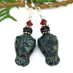 Black and Red Goth Owl Earrings, Czech Glass Swarovski Crystals Handmade Dangle Jewelry @shadowdog #owl #earrings #Goth