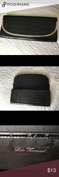 Black evening hand clutch Like new black patent alligator print clutch purse with sliver metal lining on the opening flap. No tears or stains inside Lulu Townsend Bags Clutches & Wristlets