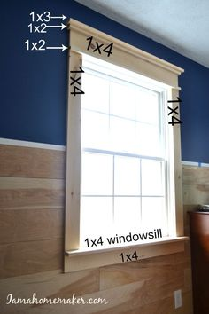 Simple instructions for creating farmhouse window trim without any fancy cuts and minimal fancy tools. - Crafts Diy Home Farmhouse Windows, Farmhouse Decor, Farmhouse Trim, Farmhouse Ideas, Modern Farmhouse, Country Kitchen Ideas Farmhouse Style, Farmhouse Stairs, Craftsman Farmhouse, City Farmhouse