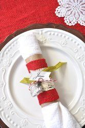 Upcycled Christmas Napkin Rings and Place Cards