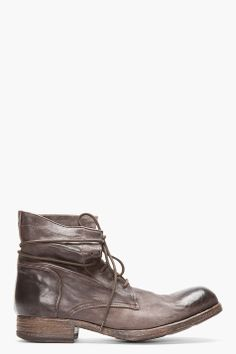 54c51d809b1 OFFICINE CREATIVE Dark Brown Polished Leather Shine Boots Officine  Creative