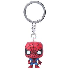 Funko Marvel Pocket Pop! Spider-Man Key Chain Hot Topic ($5.20) ❤ liked on Polyvore featuring accessories, fob key chain, keychain key ring, mini key ring, ring key chain and key chain rings