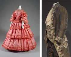 His and Hers MFIT pink taffeta dress 1857 fashion costume court suit 1785, why MFIT chose to combine these is baffling but I like them both.