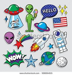 Find Fashion Patch Badges Style Vector stock images in HD and millions of other royalty-free stock photos, illustrations and vectors in the Shutterstock collection. Doodle Art, Doodle Icon, Printable Stickers, Cute Stickers, Space Doodles, Space Painting, Grafiti, Tumblr Stickers, Alien Art
