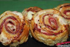 Mis Recetas: Rollitos de hojaldre de jamón serrano con queso y salami. Deli, Doughnut, Kids Meals, Sushi, Sandwiches, Muffin, Lunch, Cooking, Breakfast