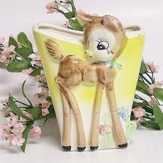 Baby Deer Ceramic Wall Pocket #vintage