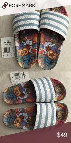 Adidas sold out slides ! Beautiful slides , never been worn ! Sold out and rare find ! Adidas Shoes Slippers