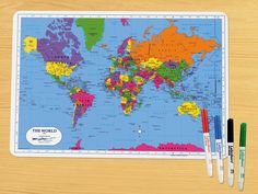 Keep track of the World Cup teams on our Write & Wipe World Tabletop Map!