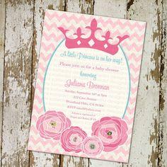 baby girl shower invitations, shabby chic princess, chevron, digital, aqua and pink, printable file (item 1351)