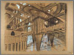 "Otto Hunte Fritz Lang's ""Metropolis,"" 1927 Gouache and Charcoal - (Cinematheque francaise, Paris/LACMA) Metropolis 1927, Milwaukee Art Museum, Fritz Lang, Grain Of Sand, Gelatin Silver Print, Paris Photos, Gouache Painting, Classic Hollywood, Designs To Draw"