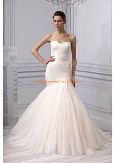 Belle robe sirène rose 2012 simple pas cher robe de mariée tulle