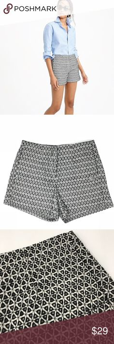 "J. CREW | Eyelet Crochet Shorts Lined. 100% cotton.   Condition: Excellent pre owned condition Measurements (laying flat): 14"" waist 12"" length 3.25"" inseam  Item location: bin 61 J. Crew Shorts"