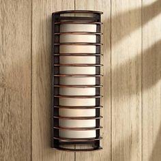 """$129 John Timberland® Bronze Grid 16 3/4"""" High Outdoor Wall Light"""