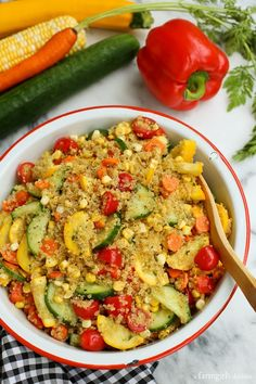End of Summer Quinoa Salad with Sweet Curry Vinaigrette from afarmgirlsdabbles.com