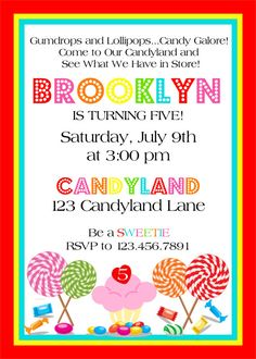 Candyland Theme Party Invations Custom 5x7 Birthday Party