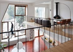 Assorted windows and diagonal cladding feature on renovated home