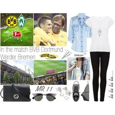 На матч BVB Dortmund - Werder Bremen!! by dashareus on Polyvore featuring мода, Whistles, Topshop, Converse, Gucci, Forever 21, Ray-Ban and Plane