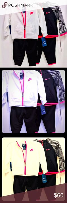 ⚫️Nike⚫️ Dry Fit Bundle White Black & Pink This is a amazing bundle and deal. Comes exactly as shown as two sets, can get individually if inquire. Black set has zebra print on arms and outlines in pink White hoodie has pink outlined and black bottoms have no pink lining like the other set does. Nike Shirts & Tops Sweatshirts & Hoodies