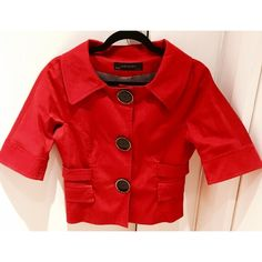 Zara jacket Beautiful Spring/Fall jacket from Zara. Pre loved and cared for, this jacket is in great condition! Bright red rayon jacket with big black buttons. Perfect for Spring or Fall since it's very light weight! Also has a buckle in the back that you can tighten for a more tailored look! Zara Jackets & Coats Utility Jackets