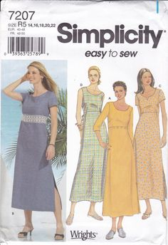 New Sewing Pattern cute Summer Dress Empire Easy to sew Simplicity Pattern 7207 Misses Women's Size 14 16 18 20 22 Bust 36 38 40 42 44 Plus by LanetzLiving on Etsy Size 14, Plus Size, Cute Summer Dresses, Simplicity Sewing Patterns, Casual Tops, Short Sleeve Dresses, Sleeves, How To Wear, Empire