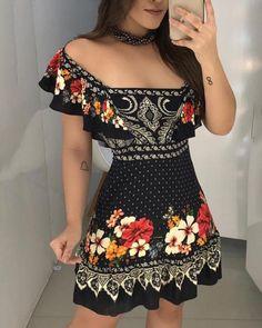 Off Shoulder Floral Print Ruffles Dress – Dresses – Elegant Dresses For Teens, Tight Dresses, Modest Dresses, Sexy Dresses, Cute Dresses, Dress Outfits, Casual Dresses, Fashion Dresses, Summer Dresses