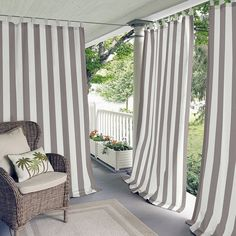 Elrene Highland Stripe Indoor/outdoor Tab Top Window Curtain Panel In Natural Indoor Outdoor, Outdoor Spaces, Outdoor Living, Outdoor Cabana, Tab Top Curtains, Drapes Curtains, Striped Room, Colorful Curtains, Home Fashion