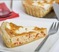 Hartige taart met Paprika en Geitenkaas | Romig en verleidelijk.  #recept #quiche #vegetarisch #flexitarier