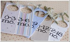Cute idea, put on a hanger to organize baby clothes