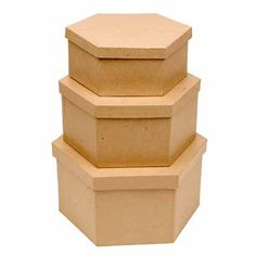 1 of Each Size 3 Total Boxes Factory Direct Craft Handcrafted Paper Mache Square Boxes with Rusty Tin Insert Lids