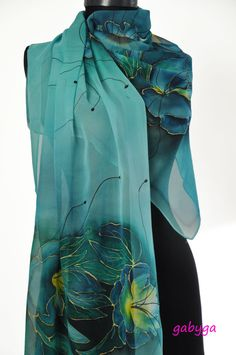Blue Hand painted silk scarf/ Paintng silk scarf/Hand painted