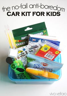 DIY anti-boredom car kit for kids - works every time to keep them entertained on long trips!