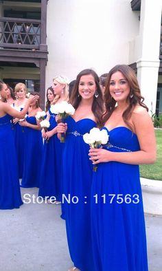 Free shipping!Wholesale a line sweetheart beaded floor length long royal blue chiffon bridesmaid dress Taefa's Wedding