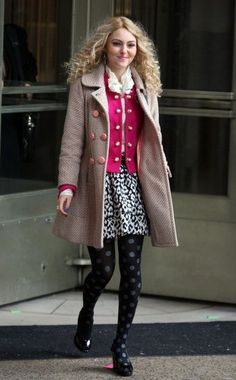 Shop the Carrie Diaries Season-One Outfits — Including Exact Pieces!: Carrie layered up in a pink cardigan, leopard skirt, polka-dot Hue tights ($9, originally $14), and a textured peach coat. Get inspired by Carrie's mixed-print masterpiece and pair her exact tights with this snow leopard Milly mini ($225).