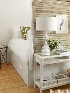 Small studio apartment layout ideas and I love the fresh, bright whites and neutrals.