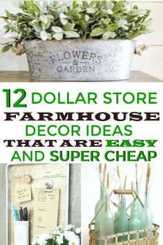 Farmhouse decor hacks you can get at the Dollar Store. This would be great for home decor on a budget. # easy Home Decor 12 Dollar Store Farmhouse Decor Hacks that are Easy and Super Cheap · Homebody Easy Home Decor, Home Decor Bedroom, Cheap Home Decor, Bedroom Ideas, At Home Decor Store, Diy On A Budget Home Decor, Home Decor Hacks, Budget Bedroom, Thrifty Decor