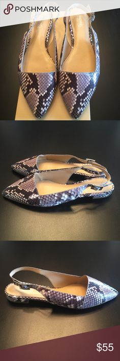 Michael Kors, Sling Back, New w/tag Michael Kors; Flattering Embossed Leather 100% Goat Leather Sling Back. It has a pointed toe. The color is black, light gray, and cream. Michael Kors Shoes Flats & Loafers