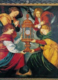 Sagrado Corazón Eucarístico de Jesús: Ángeles adorando la Eucaristía, ángeles adorando a...