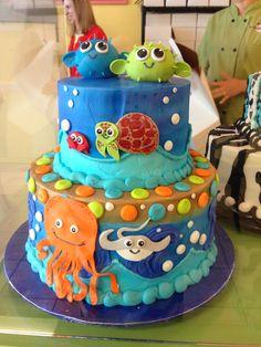 Shark Clam Cake Ocean Sea Creatures First Birthday Liams First