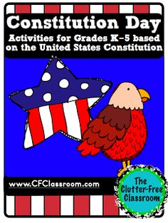 Clutter-Free Classroom Books, tips, ideas, resources and printables for Constitution Day. Teaching the United States Constitution.