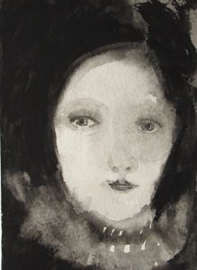 Image of portrait of a dreamer woman - gouache on paper