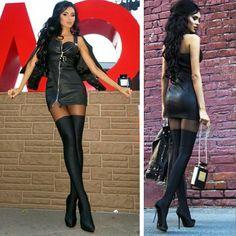 The beautiful @olesya_malinskaya  #fashion#hees#highheels#dress#leatherdress#leatheroutfit#leatherfashion#overknees