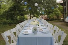 Baby shower for boy, table setting idea